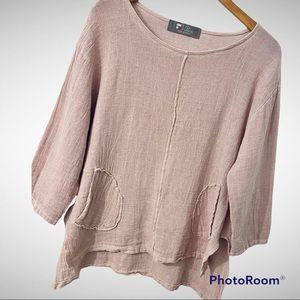 Tina Stephens Pink Italian Linen & Cotton Top